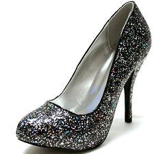 New Qupid women shoes formal evening pumps stilettos prom party black glitter