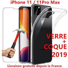 COQUE POUR IPHONE 11 / 11 PRO MAX CRYSTAL SILICONE + VITRE VERRE TREMPE ECRAN