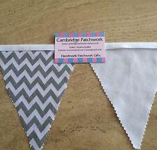 Grey & White Chevron Zig Zag & White Cotton Fabric Bunting , Baby showers,
