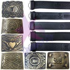 CC Scottish Kilt Belt Black Leather Embossed Various Design/Antique Belt Buckles