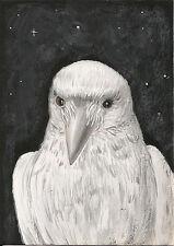 5x7 PRINT OF PAINTING RAVEN WHITE CROW RYTA GHOST HALLOWEEN GOTHIC FOLK ART DARK