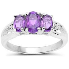 Plata De Ley 3 Piedra Anillo Compromiso Ametista Diamante Hombros Talla 46,8 Con