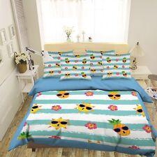 3D Cartoon Pineapple Sun 4 Bed Pillowcases Quilt Duvet Cover Set Single Queen Us