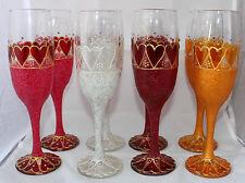Sweetheart Valentine Champagne Flutes Glasses Handpainted Wedding Anniversary