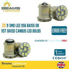 ERROR FREE 9 SMD LED P21W 1156 BA15S/1157 BA15D 12V WHITE/RED SIDE LIGHT x2