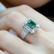 Vintage 925 Silver Emerald & White Sapphire Jewelry Wedding Bridal Women Sz 6-10