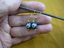 (EE600-226) 10 mm Blue bead white flower CLOISONNE dangle EARRINGS Jewelry