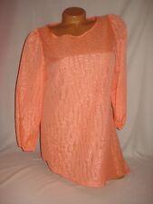 Jaclyn Smith Blouse Shirt 3/4 Sleeve Orange Asymmetrical Hem Sexy Top NWT