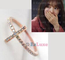 Korean drama Missing You Yoon Eun Hye Sideways CZ Cross Ring 925 STERLING SILVER