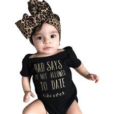 My Dad Baby Girls clothes set Newborn Infant Baby Romper Jumpsuit Headband black