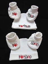 Set Baby Mütze Schuhe Booties Geschenk Erstausstattung I love Mum/ Dad 50 56 - B