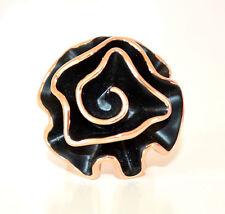 ANELLO donna NERO ORO fiore misura unica regolabile elegante cerimonia ring L30