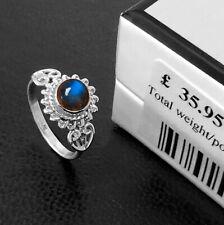 New Elegant LABRADORITE 925 Sterling Silver Gemstone Ladies Ring Gift Boxed