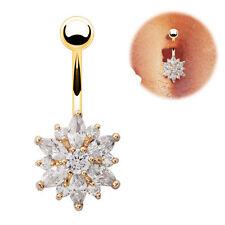 Gold Rose Gold  Belly Button Bars Flower Crystal Navel Ring Body Bar Piercing