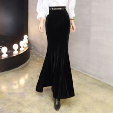Women Ladies Sexy Velvet Fishtail Mermaid Skirt Long Maxi Bodycon Black Vintage
