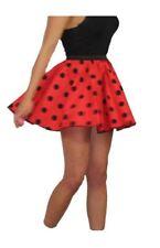 """Adults Red & Black Polka Dot 15"""" Skater Skirt Full Circle Fancy Dress 60s 70s"""