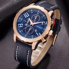Curren Leather Strap Quartz Watches Sport Men's Waterproof Date Fashion Watches