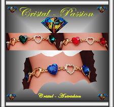 """Sublime Bracelet cristal autrichien """" 3 coeurs   """" doré or fin"""