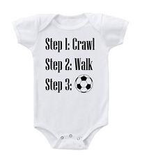 Step1: Crawl Step 2: Walk Step 3: Soccer Cotton Baby Bodysuit One Piece