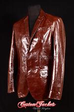 Men's MILANO Brown Glazed Lambskin Italian 2 Button Fitted Leather Jacket Blazer