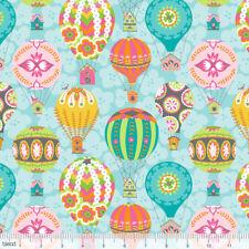 GALLEGGIANTE Blue Air Balloons Flutter & Float SKY Quilting Craft Tessuto di Cotone Misto