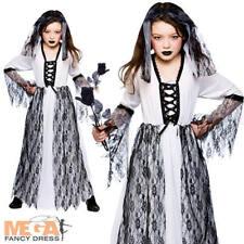Ghost NOVIA CHICAS Elaborado disfrazarse Boda Zombie Halloween Disfraz Para Niños 3-10