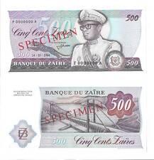 Zaire p-30s, UNC, 500 Zaires, 1984 , SPECIMEN !!