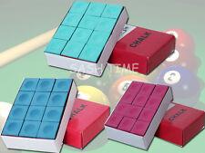 Nouveau Pack de 12 Bleu / Vert / Rouge Snooker Pool Cue stick conseils craies Craie Cubes