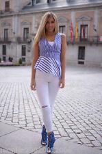 Zara Blu Bianco Righe Maglia peplo TAGLIA M L