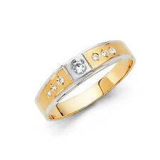 14k Yellow White Gold Two Tone 4 mm Round Cut Diamond Men Wedding Band Ring
