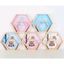 Hexagon Shelves Wooden Floating Wall Shelves for Kid Baby Bedroom Wall Decor