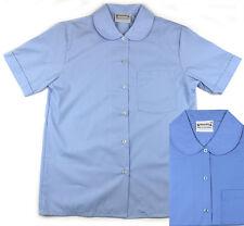 Aus Made Girls Peter Pan Short Sleeve School Shirt Blue Brand New!
