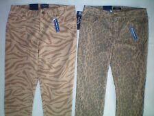 NWT womens size  2 4 khaki zebra leopard CHAPS slimming skinny jeans pants $69
