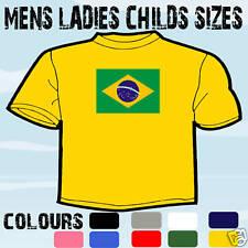 Brasil Brasile Bandiera Emblema T-Shirt Tutte le Taglie e Colori
