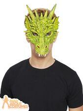 Green Dragon Mask Latex Lizard Reptile Halloween Fancy Dress Costume Accessory