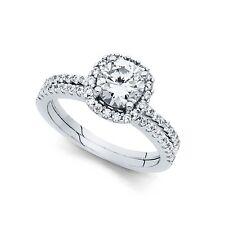 Ring & Wedding Band Bridal Rings Set 14k Yellow Or White Gold Halo Cz Engagement