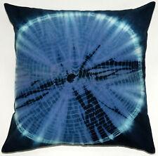 Ethnic Tie Dye Cushion Handmade Decorative Sham Pillowcase Blue Shibori 18 Inch
