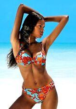 Damen Bügel Bikini Badeanzug blau Orange mit Gürtel Solar Größe 36 B Cup