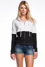 AIKO Women's Weekend Harry B-Sweatshirt in White Black Hoddie Jacket Zipper NEW