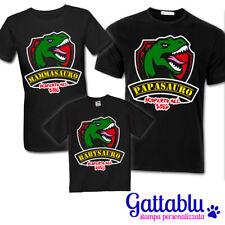 Set 3 t-shirt famiglia uomo donna e bimbo o bimba Dinosauri PERSONALIZZABILI!