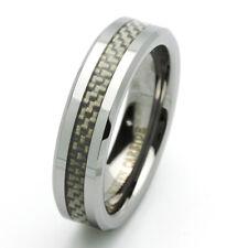 6MM Tungsten Carbide Wedding Band Beveled Edges Carbon Fiber Inlay Ring