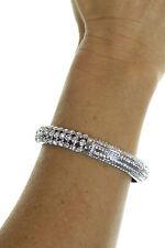 NEW (6358-1) Diamante Bangle Bracelet Preciosa Crystals Rhodium Plated Silver