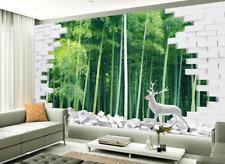 Papel Pintado Mural De Vellón Bambú Ciervo Blanco 2 Paisaje Fondo De Pantalla ES