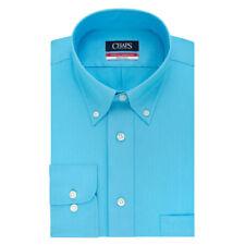 New Chaps Men's Regular-Fit Herringbone Button-Down Collar Dress Shirt Blue $45