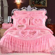 Bedding set 4pcs Wedding Jacquard satin lace duvet cover cotton bed sheet pillow