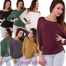 Maglia donna pull maglione maniche pipistrello lunghe righe pizzo nuova AS-1362