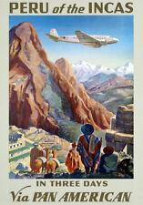 TA1 Vintage Peru Of The Incas Travel Poster Re-Print A4