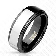 Titan Wolfram Ring Black 8mm Wide Rim Black Silver 60 (19) - 66 (21)