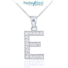 "Sterling Silver Letter ""E"" Initial CZ Monogram Pendant Necklace"