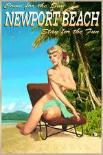 Newport Beach California Retro Travel Poster Nude Beauty Pin Up Art Print 288
